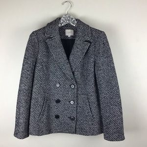 Ann Taylor LOFT Houndstooth Double Breasted Blazer